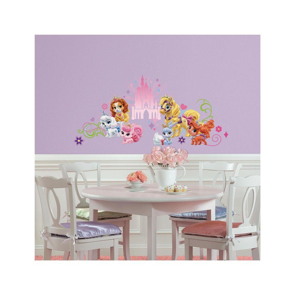 5 in. x 19 in. Disney Princess Palace Pets Wall Graphic 23-Piece Peel and Stick Wall Decal, Multi