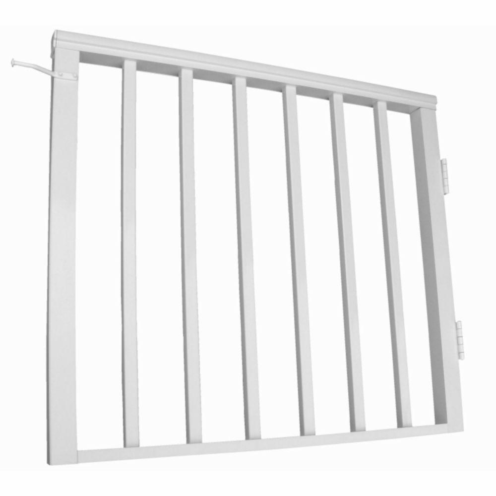 EZ Handrail 36 in. x 36 in. White Pre-Built Aluminum Single Panel Walk Though Gate with 1 in. Square Balusters