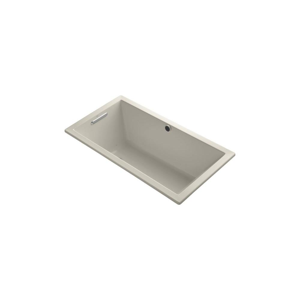 KOHLER Underscore 5 ft. Acrylic Rectangular Drop-in Whirlpool Bathtub in Sandbar