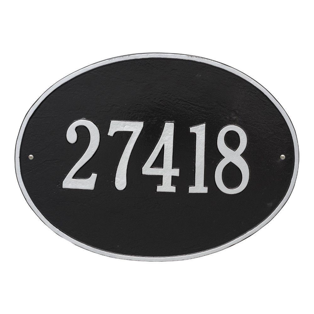 Hawthorne Estate Oval Black/Silver Wall 1-Line Address Plaque