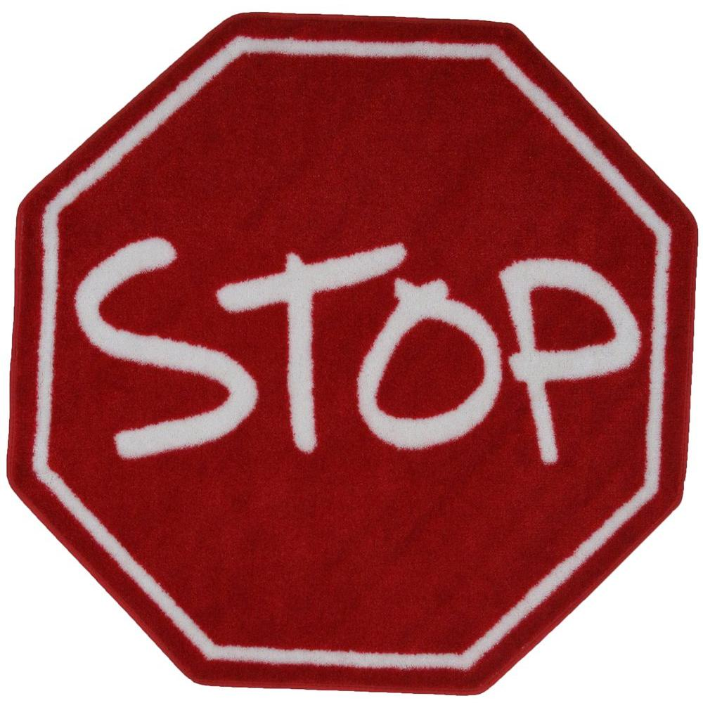 Fun Time Shape Stop Sign Red and White 39 in. Round