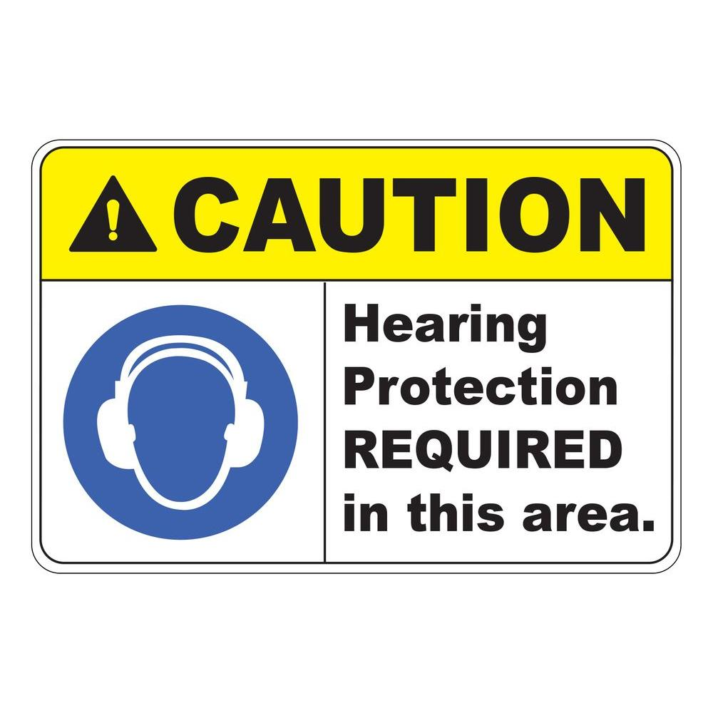 Rectangular Plastic Caution Hearing Protection Required Safety Sign