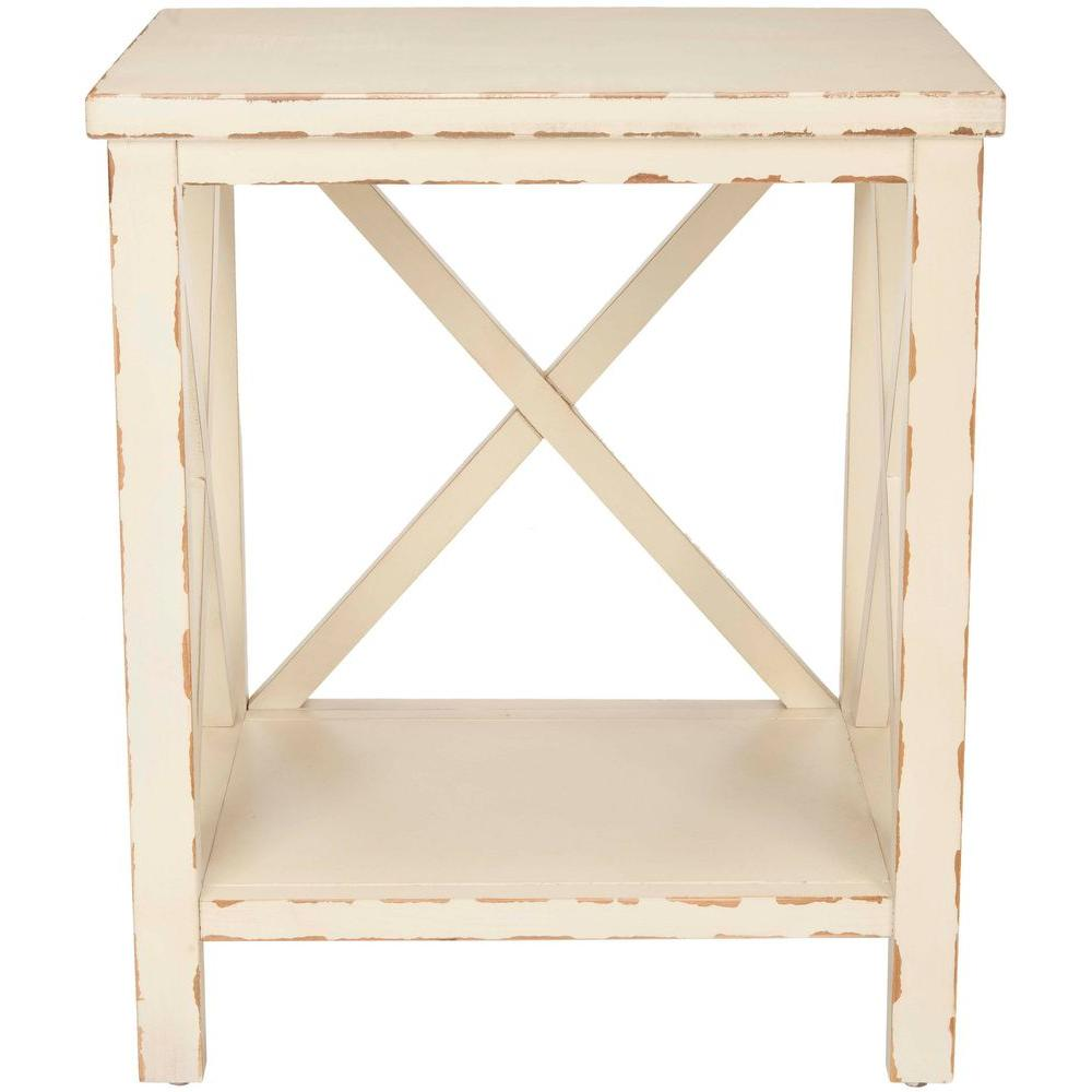 Safavieh Natalie End Table in Ivory-AMH6535A - The Home Depot