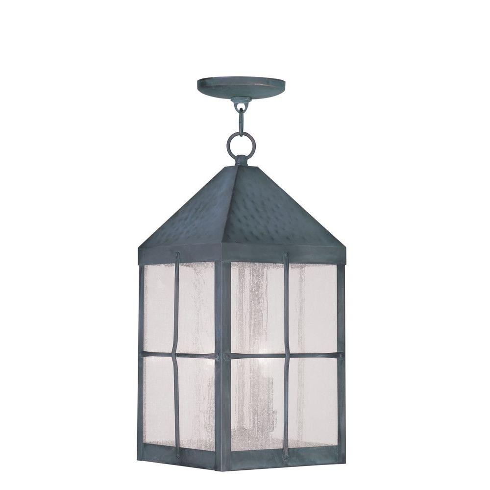 Livex Lighting Providence 3-Light Hanging Outdoor Hammered Charcoal Incandescent