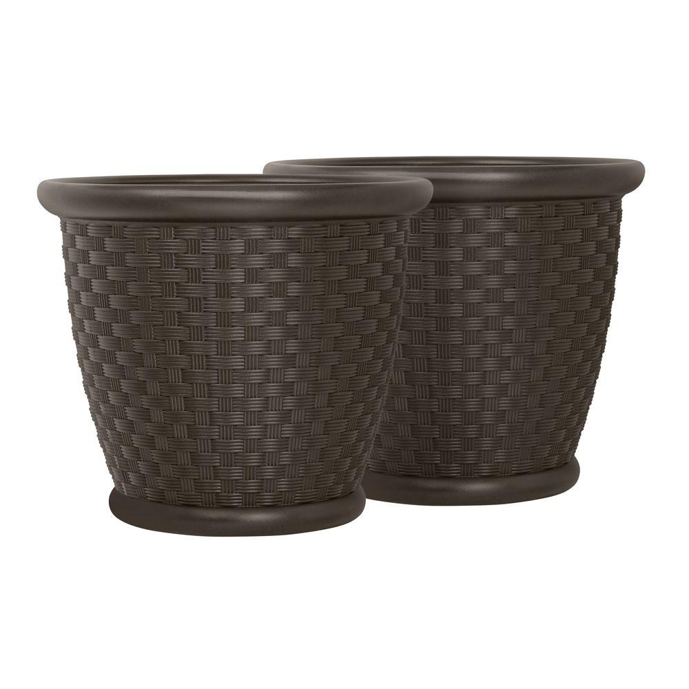Suncast Sonora 18 in. Round Java Blow Molded Resin Planter (2-Pack)-P181605E32