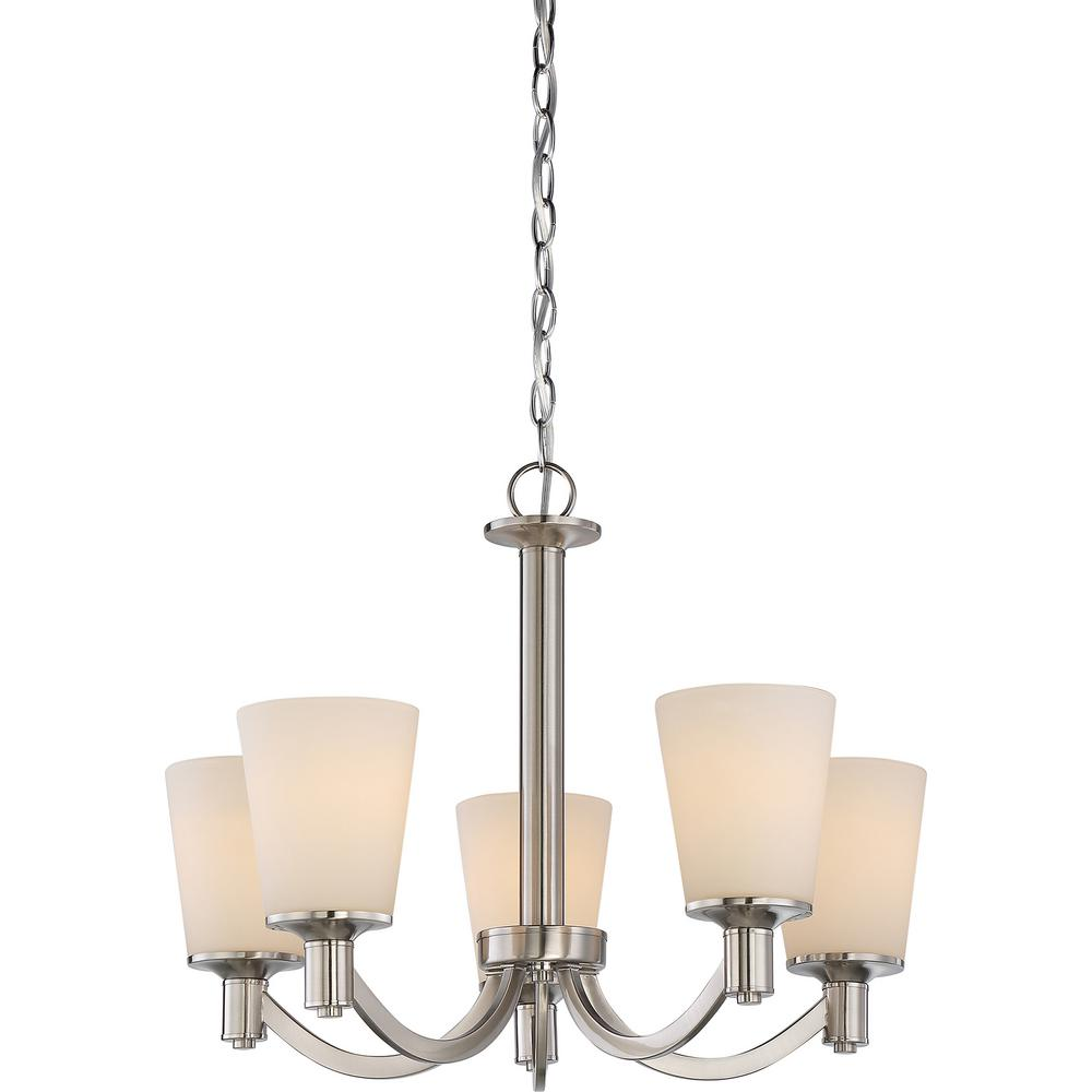 5-Light Brushed Nickel Chandelier with White Glass Shade