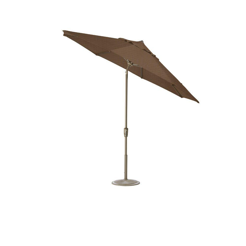 Home Decorators Collection 9 ft. Auto-Tilt Patio Umbrella in Chestnut Sunbrella with Champagne Frame-DISCONTINUED