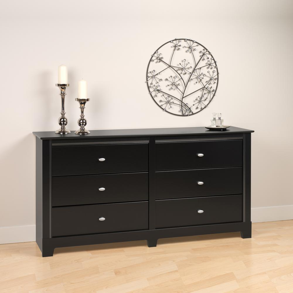 Prepac Kallisto 6-Drawer Black Dresser