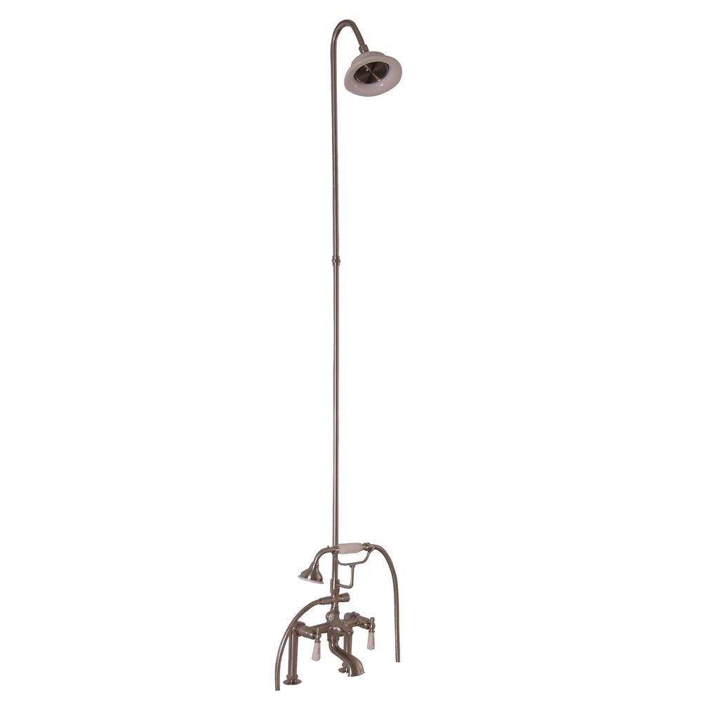 Barclay Products 3-Handle Claw Foot Tub Faucet with Riser, Hand Shower and Showerhead in Brushed Nickel