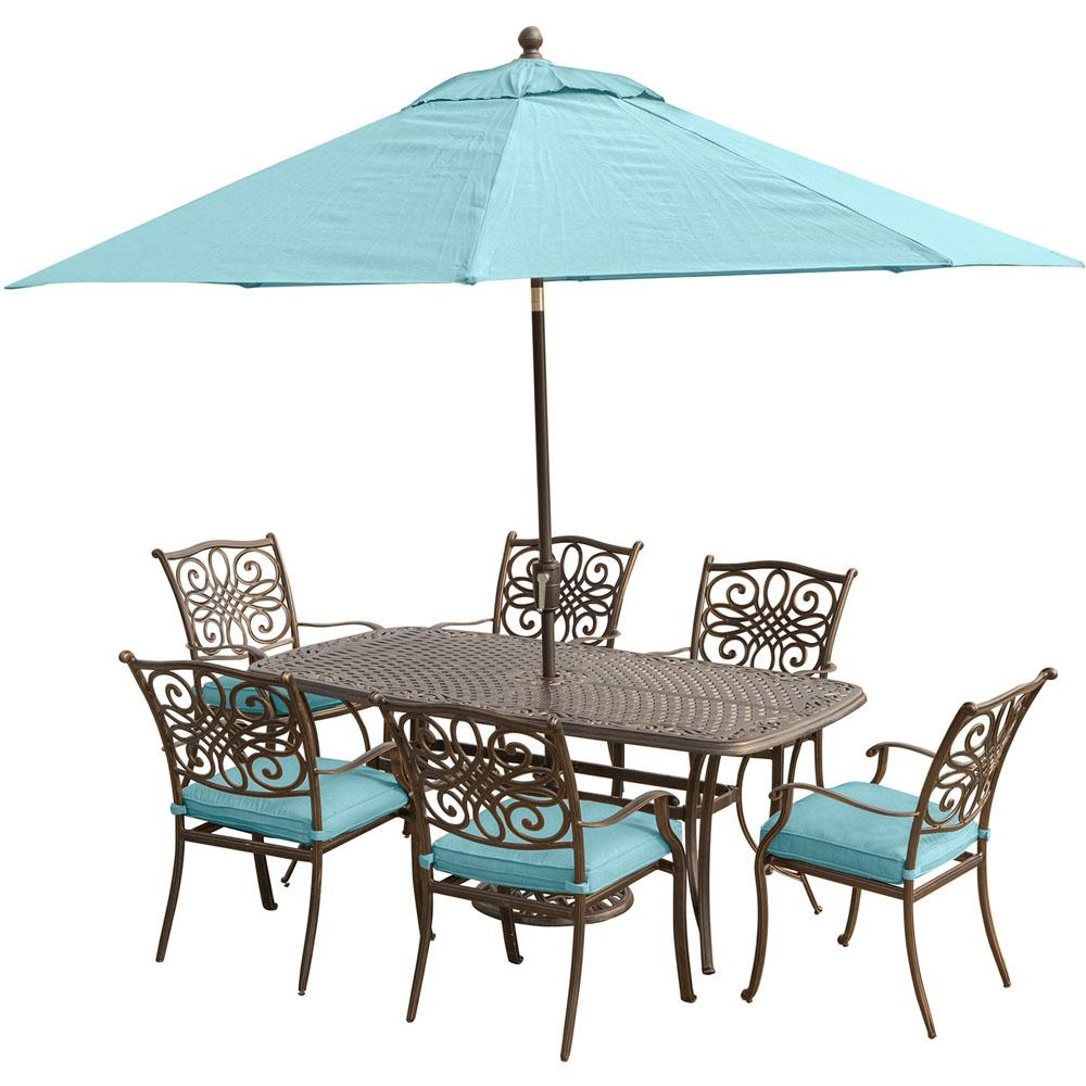 Hanover traditions 7 piece aluminum outdoor dining set for Outdoor table set with umbrella