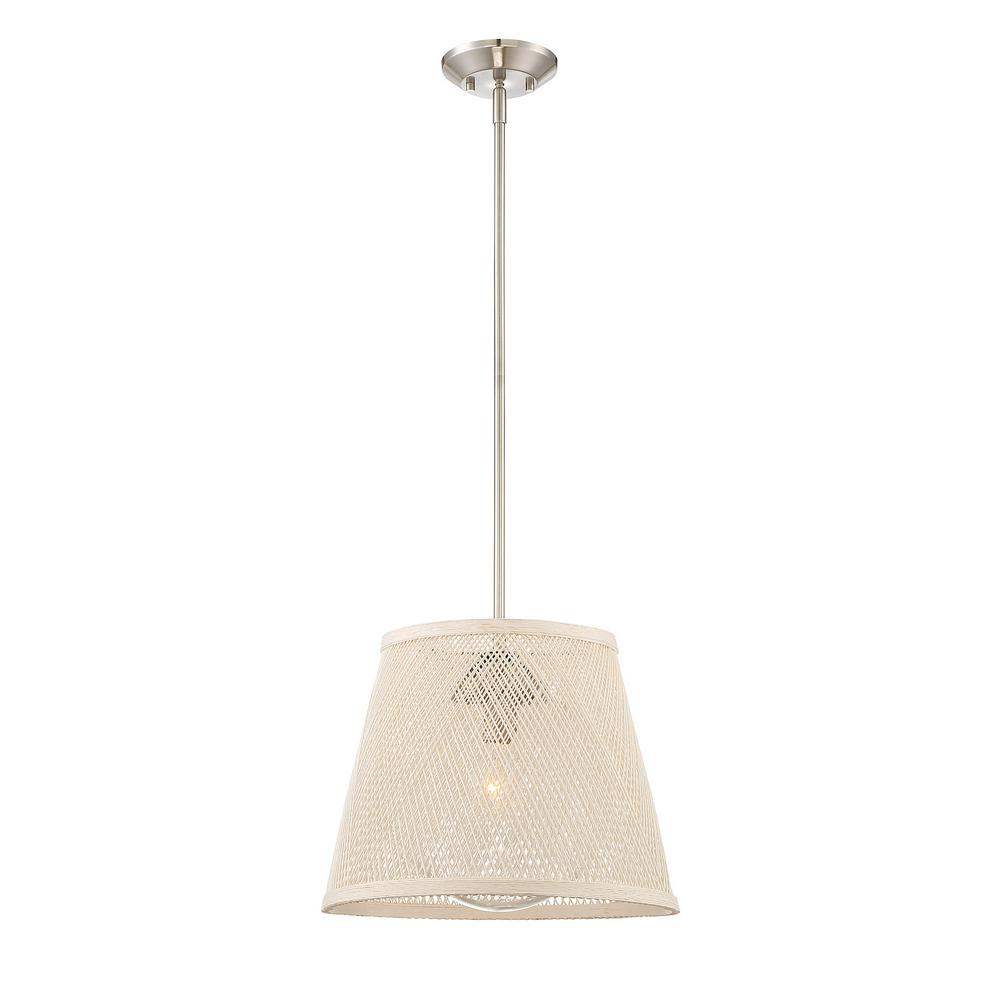 1-Light Satin Nickel Outdoor Hanging Pendant with Brown Glass Shade