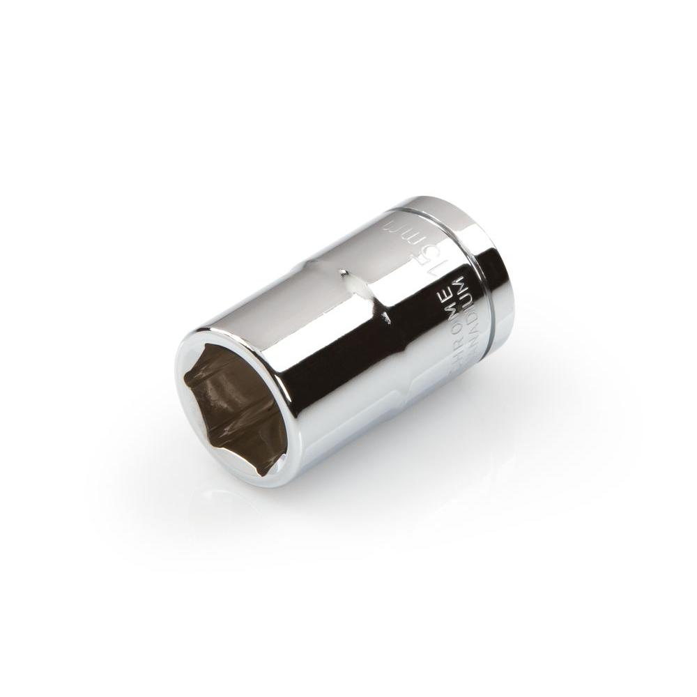 1/2 in. Drive 15 mm 6-Point Shallow Socket