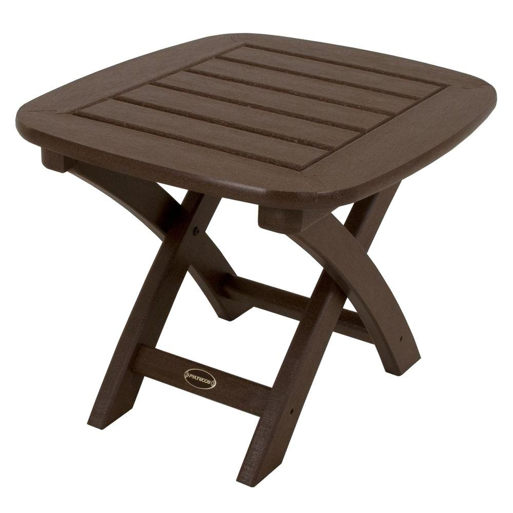 POLYWOOD Nautical 21 in. x 18 in. Mahogany Patio Side Table-NSTMA