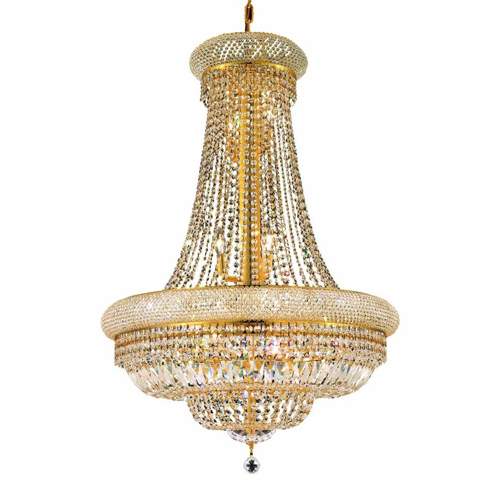 Elegant Lighting 14-Light Gold Chandelier with Clear Crystal