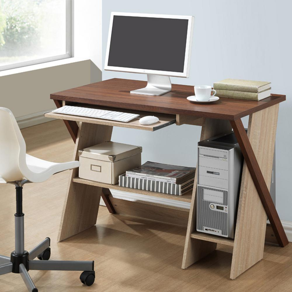 Rhombus Contemporary White Finished Wood Desk