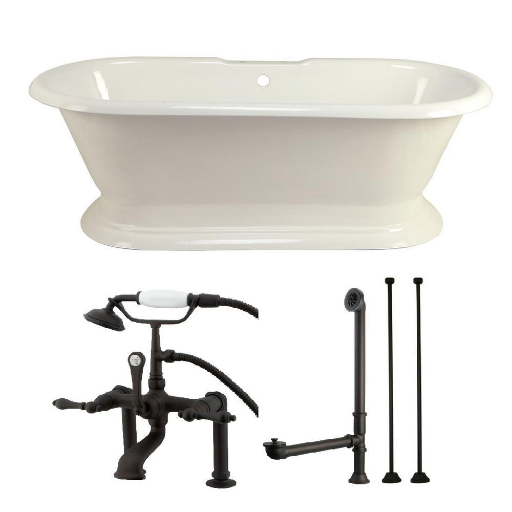 Aqua Eden Pedestal 6 Ft Cast Iron Flatbottom Bathtub In White And Faucet Combo In Oil Rubbed