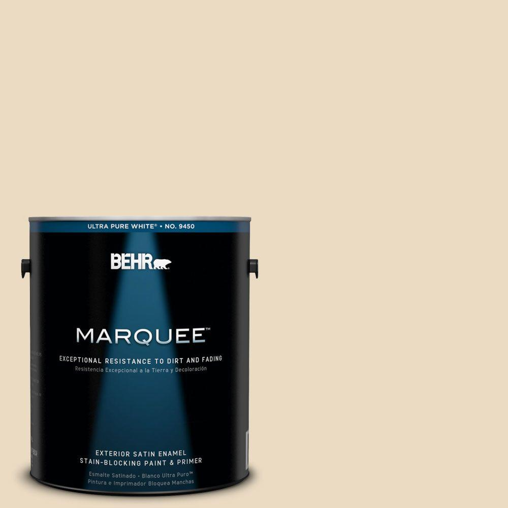 BEHR MARQUEE 1 gal. #22 Navajo White Satin Enamel Exterior Paint-945001