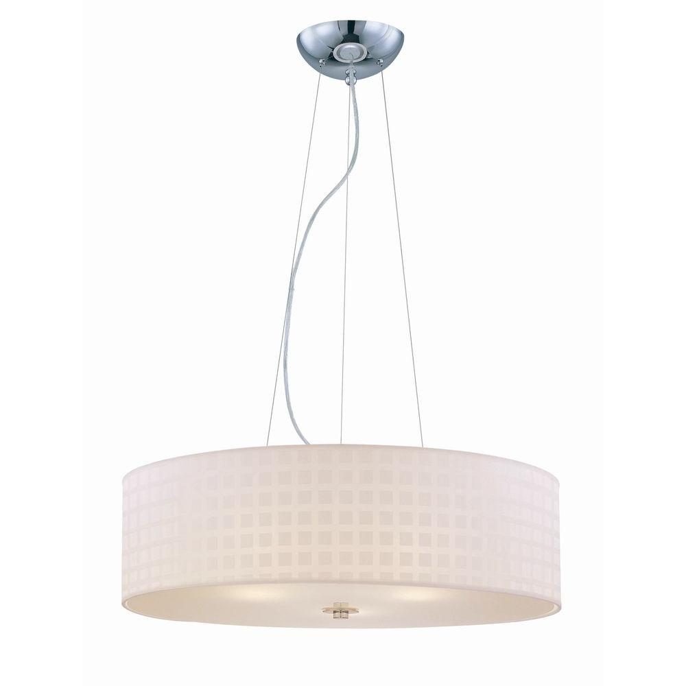 Illumine 3-Light Chrome Ceiling Lamp Pendant with White Grid Pattern Shade