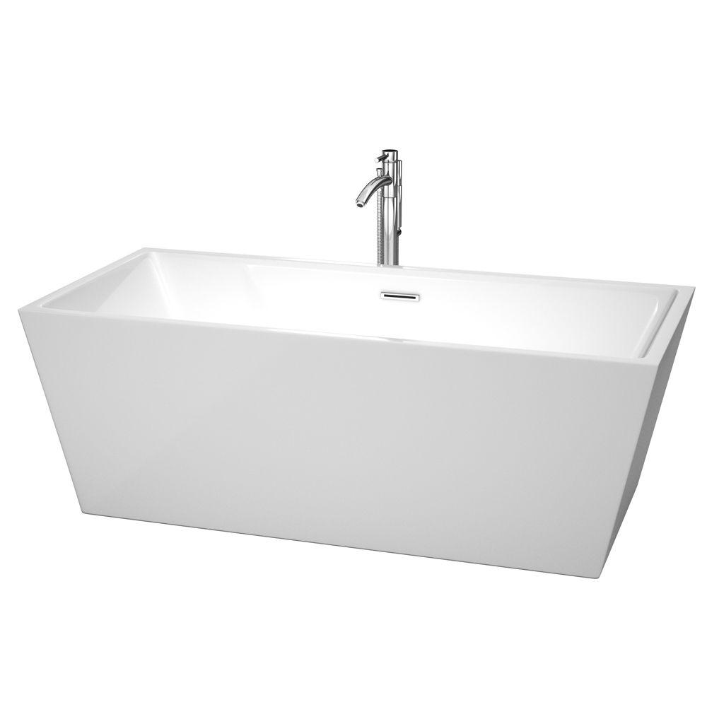 Wyndham Collection Sara 5.59 ft. Center Drain Soaking Tub in White