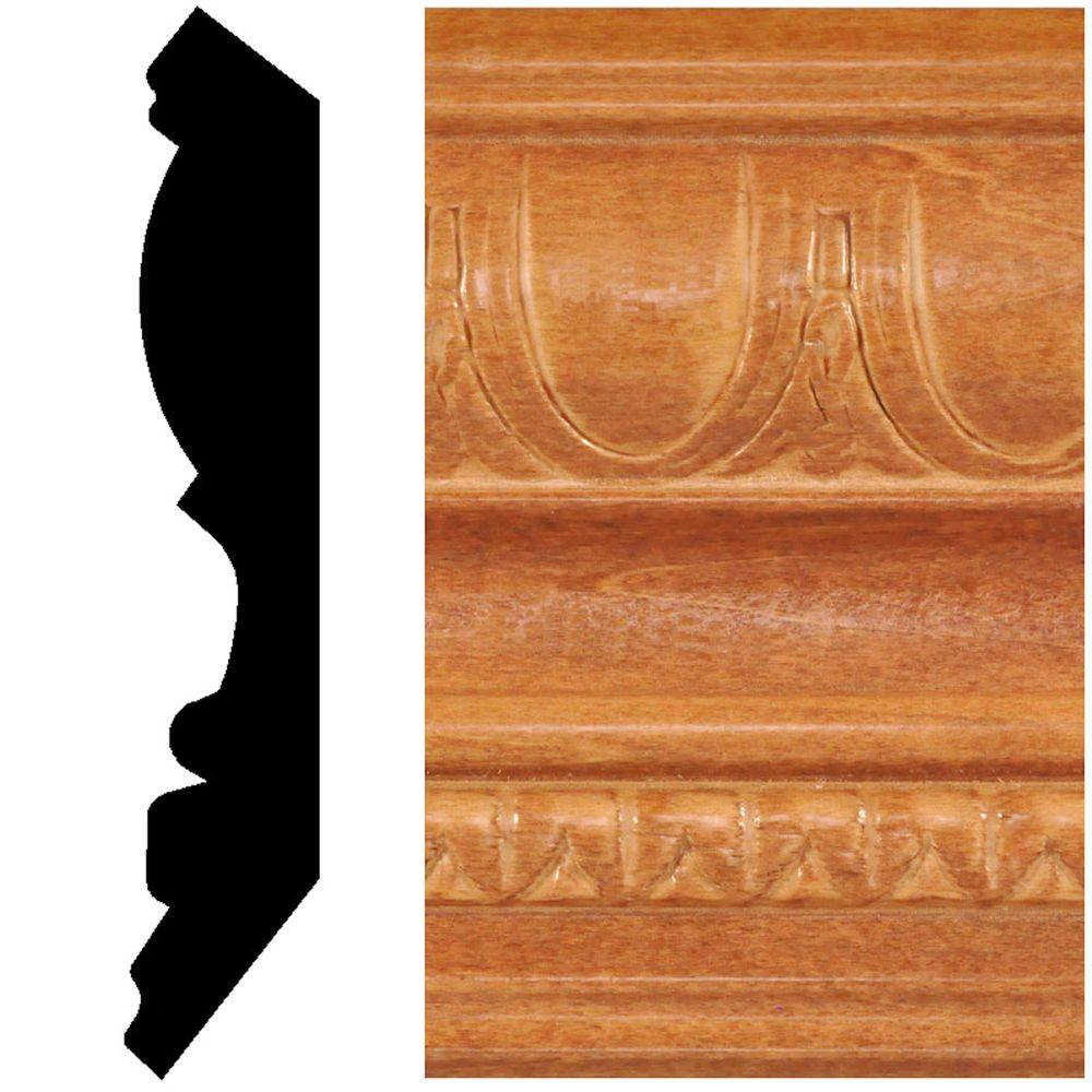 null 13/16 in. x 4-1/2 in. x 8 ft. Hardwood Stained Cherry Embossed Crown Moulding