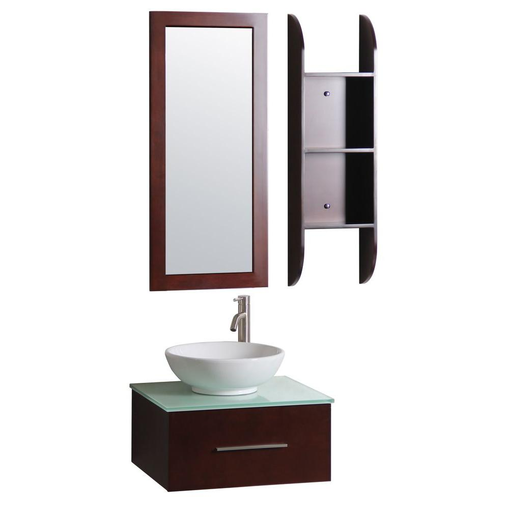 Sheffield Home Lucca 24 in. Vanity in Dark Cherry with Vitreous China Vanity Top in White with White Basin and Mirror
