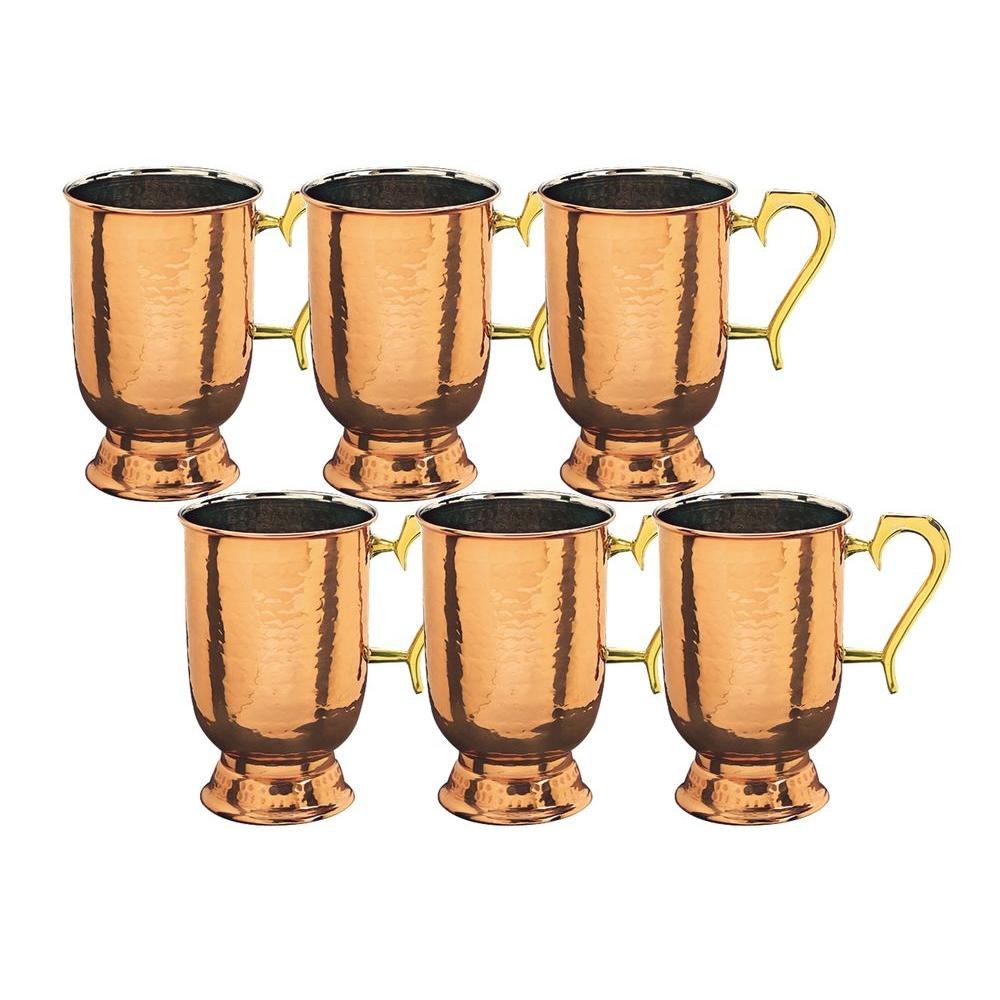 Old Dutch 5.5 in. H Solid Copper Hammered Tankard with 1 pt. Brass Handle (Set of 6)