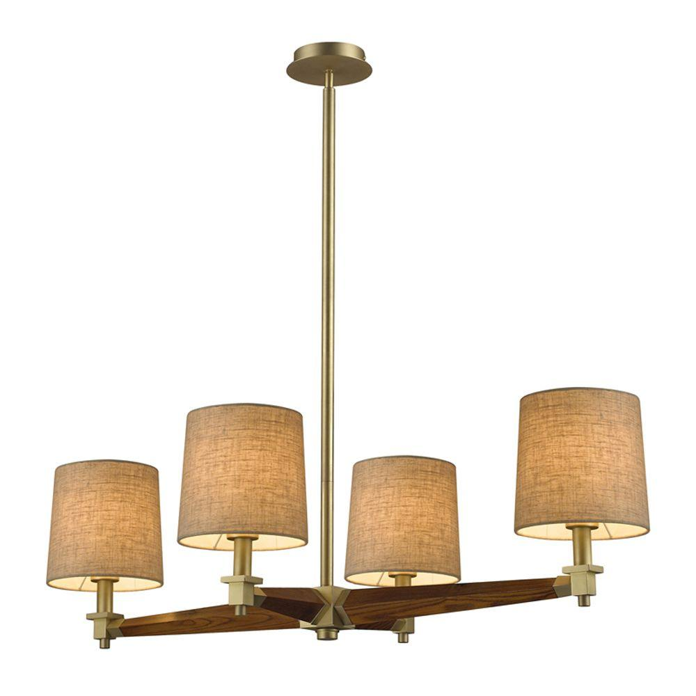 Titan Lighting 4-Light Ceiling Mount Satin Brass Chandelier-DISCONTINUED