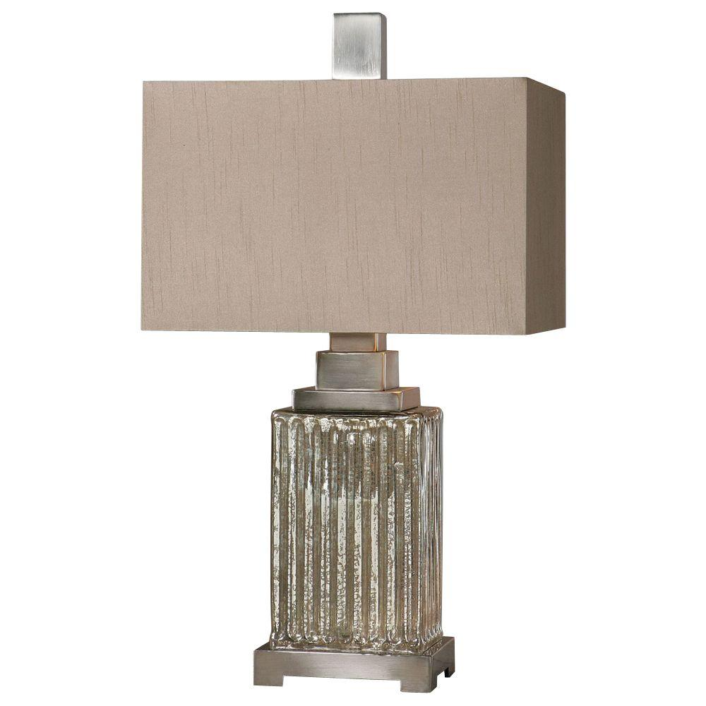 28 in. Multi-Colored Mercury Glass Table Lamp