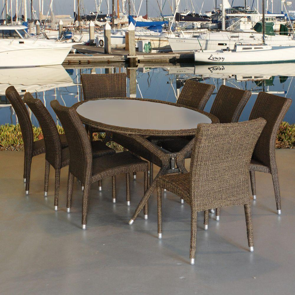 Atlantic Contemporary Lifestyle Bari Oval 9 Piece Synthetic All Weather  Wicker Patio Dining Set