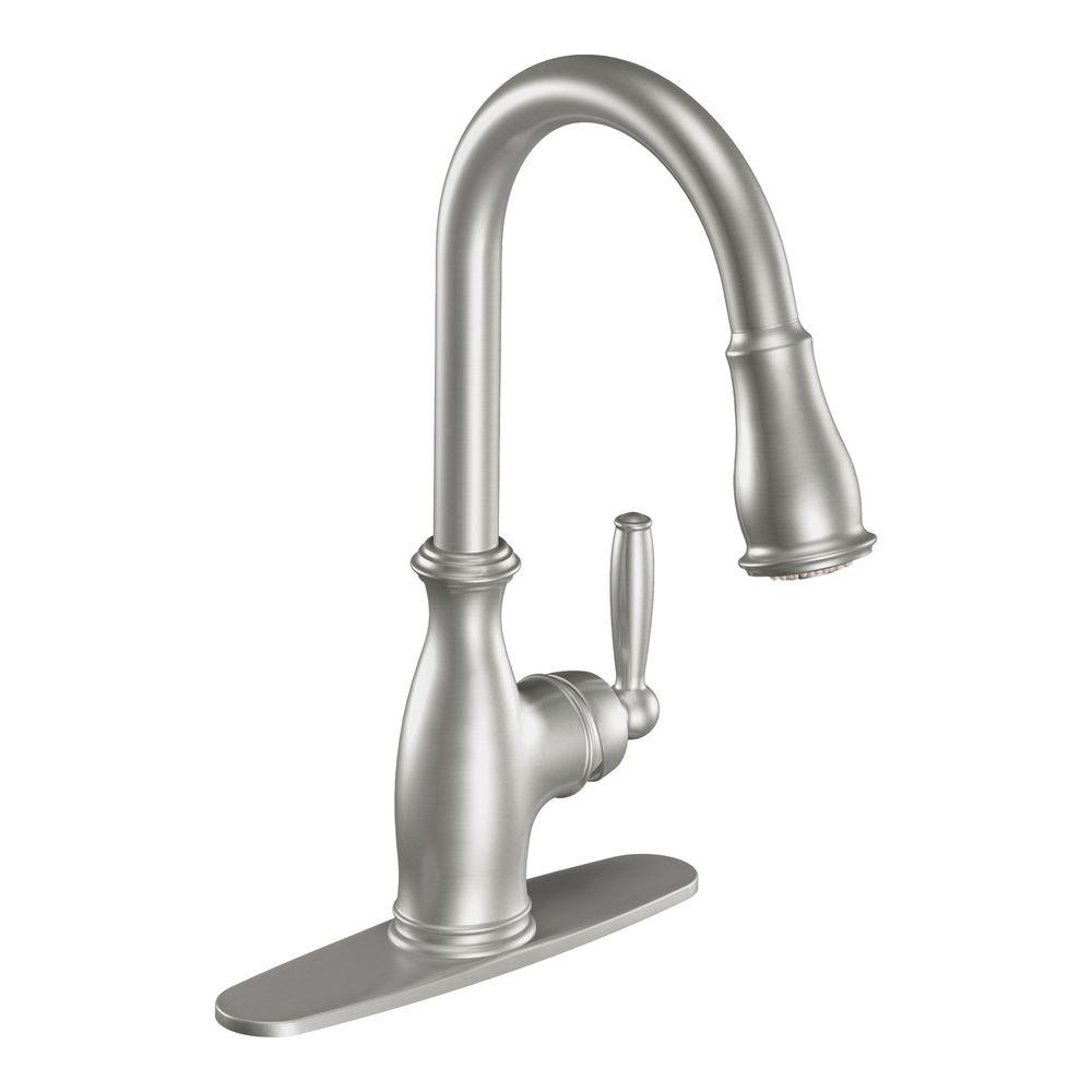 MOEN Brantford Single-Handle Pull-Down Sprayer Kitchen Faucet Featuring Reflex in Classic Stainless