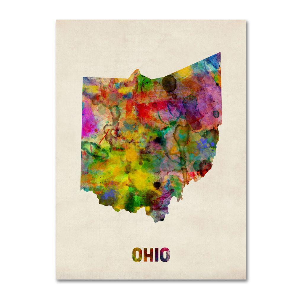 47 in. x 35 in. Ohio Map Canvas Art