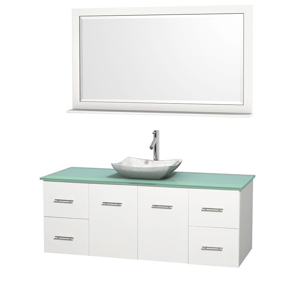 Wyndham Collection Centra 60 in. Vanity in White with Glass Vanity Top in Green, Carrara White Marble Sink and 58 in. Mirror