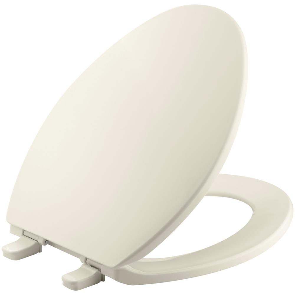 Brevia Elongated Closed Front Toilet Seat with Q2 Advantage in Almond