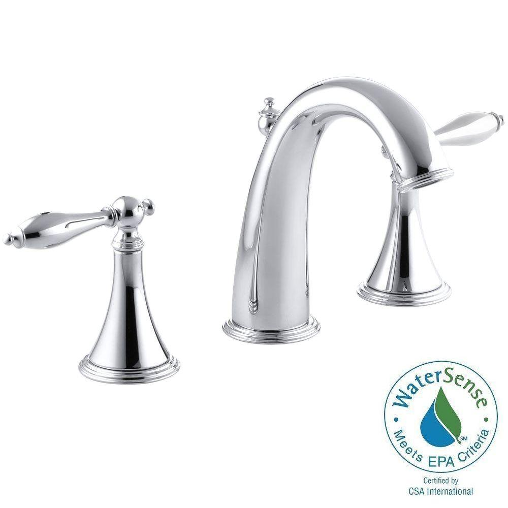 Finial Traditional 8 in. Widespread 2-Handle High-Arc Bathroom Faucet in