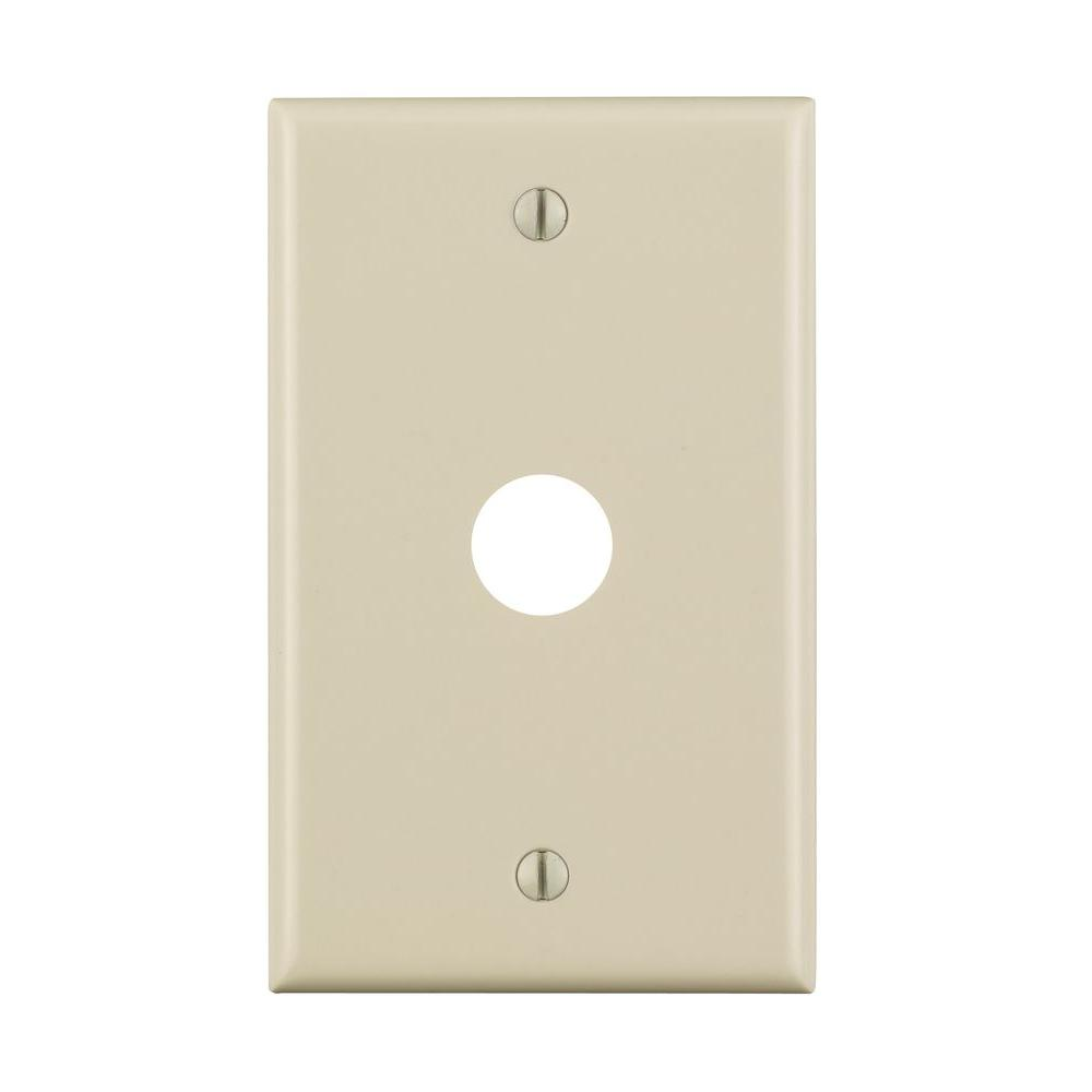 Leviton 1-Gang 0.625 Hole for Telephone or TV Wall Plate, Light