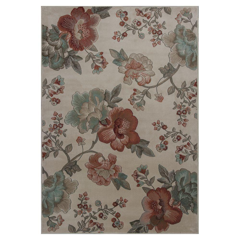 Kas Rugs Floral Scape Ivory 5 ft. 3 in. x 7 ft. 8 in. Area Rug