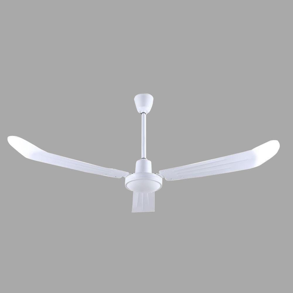56 in. White Industrial Ceiling Fan with 3 Blades