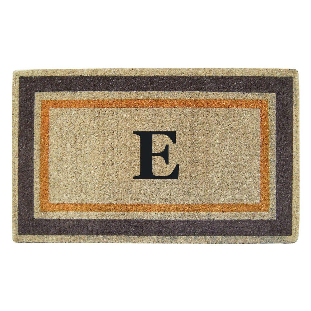 Creative Accents Double Picture Frame Orange Brown 22 in. x 36 in. HeavyDuty Coir Monogrammed E Door Mat