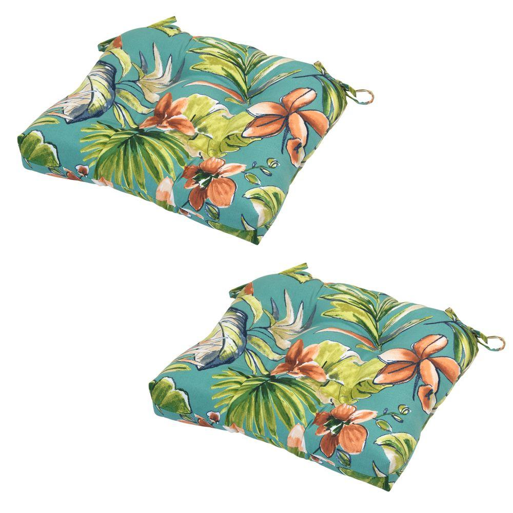 Fantastic Orchid Tufted Outdoor Seat Cushion (2-Pack)