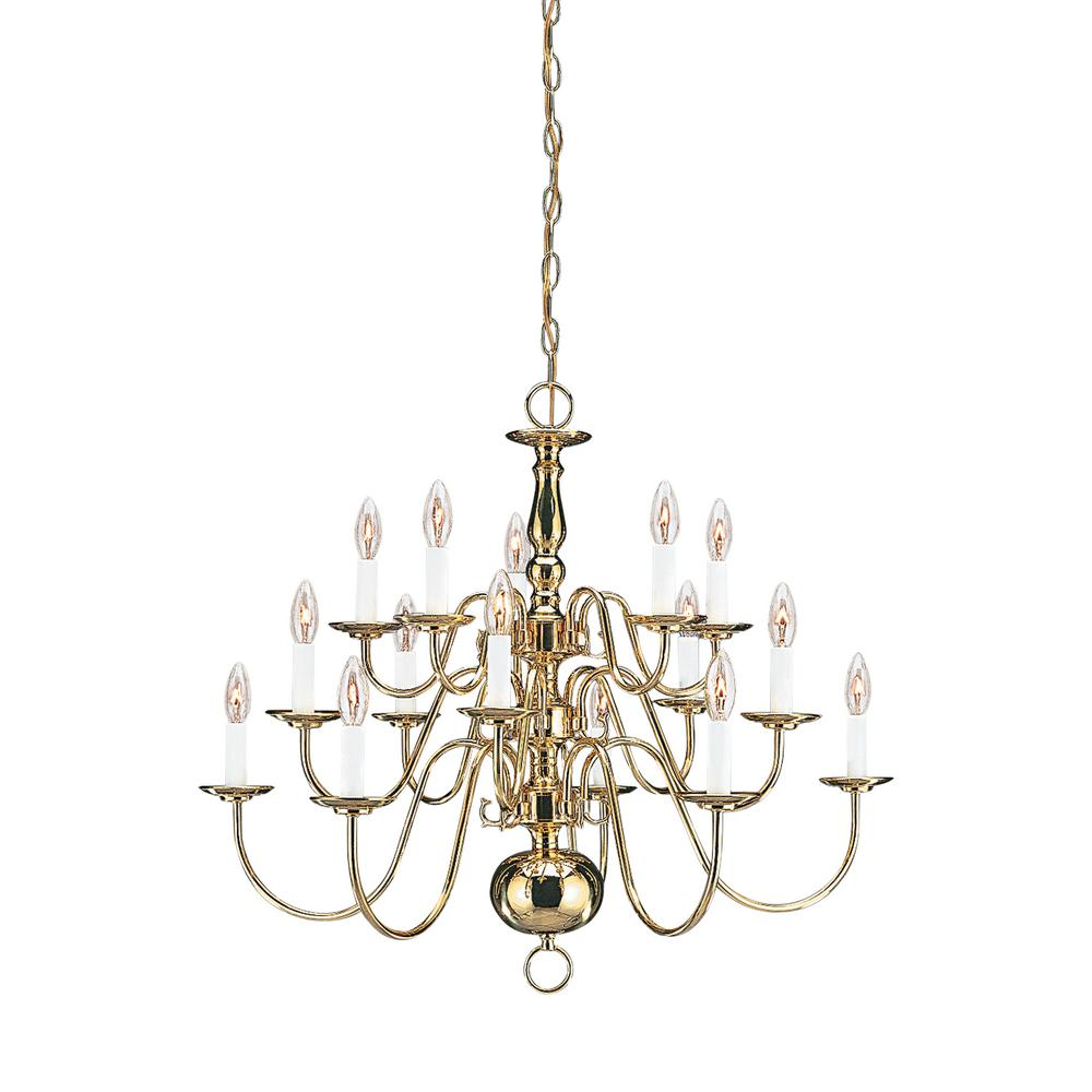 Traditional 15-Light Polished Brass Chandelier