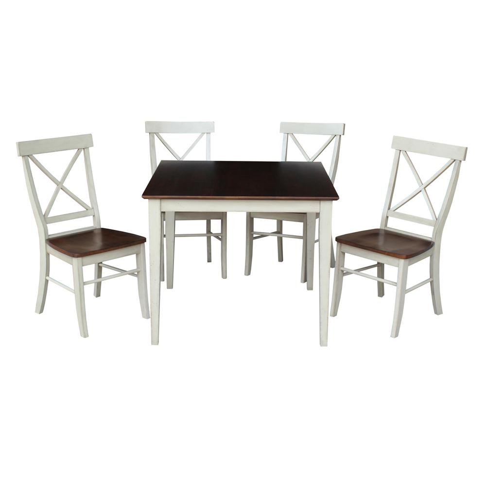 Dining Essentials 5 Piece Almond And Espresso Solid Wood Set
