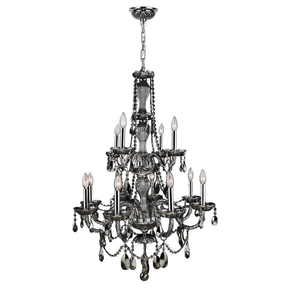Worldwide Lighting Provence Collection 12-Light Chrome and Smoke Crystal Chandelier