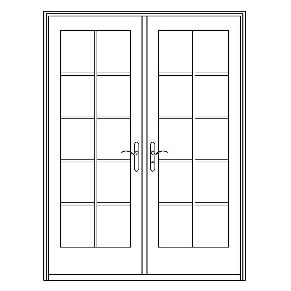 Professional Series 72 in. x 80 in. White Aluminum/Wood French Patio