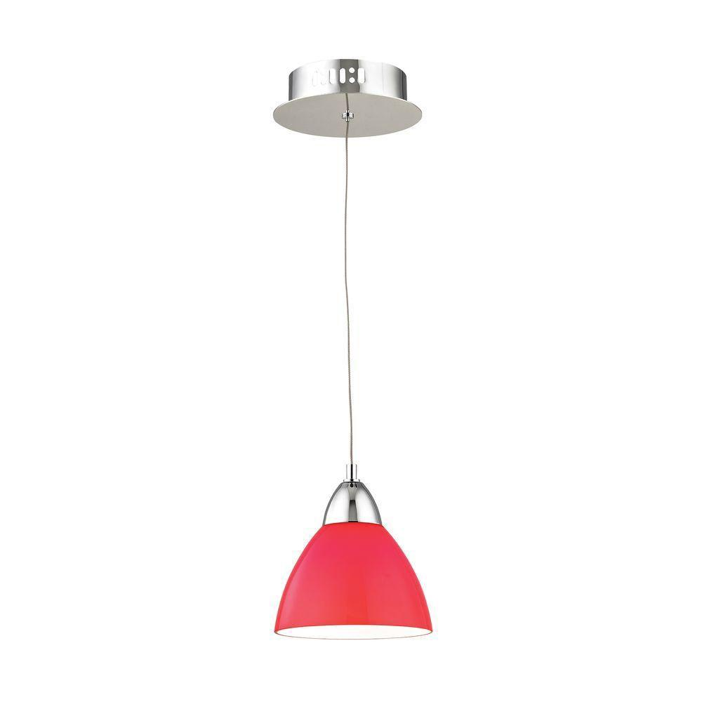 Piatto 1-Light Chrome LED Pendant with Red Glass-TN-92181 - The Home