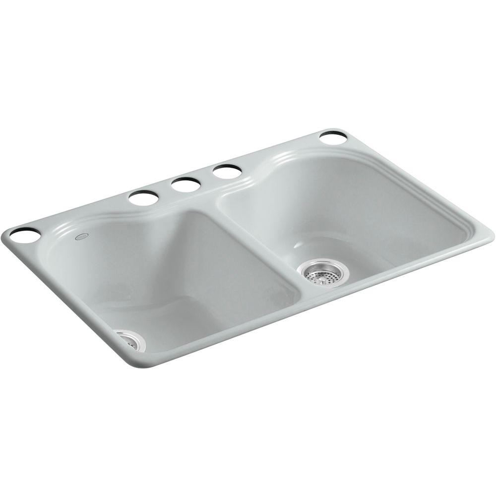 Hartland Undermount Cast Iron 33 in. 5-Hole Double Bowl Kitchen Sink in Ice Grey