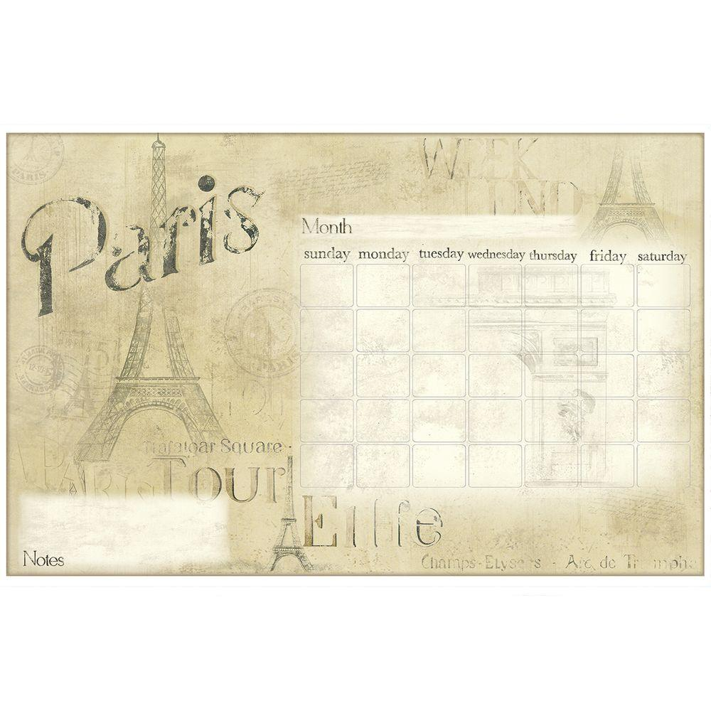 RoomMates Wall Decorations 2.5 in. x 27 in. Paris Dry Erase Calendar Peel and Stick Wall Decals Browns / Tans RMK2475SLM