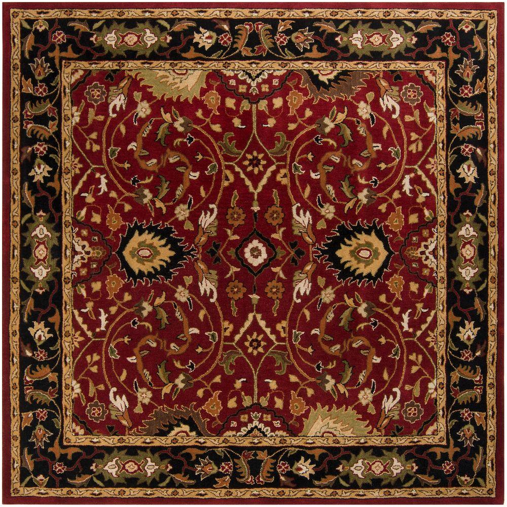 John Red 6 ft. Square Area Rug