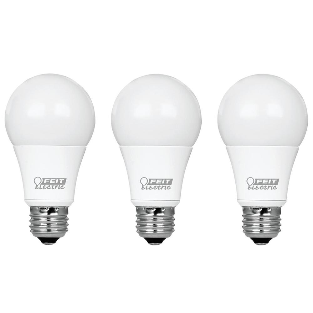 Feit Electric 60-Watt Equivalent A19 Dimmable CEC Title 24 Compliant LED  ENERGY STAR 90+ CRI Light Bulb, Soft White (3-Pack)