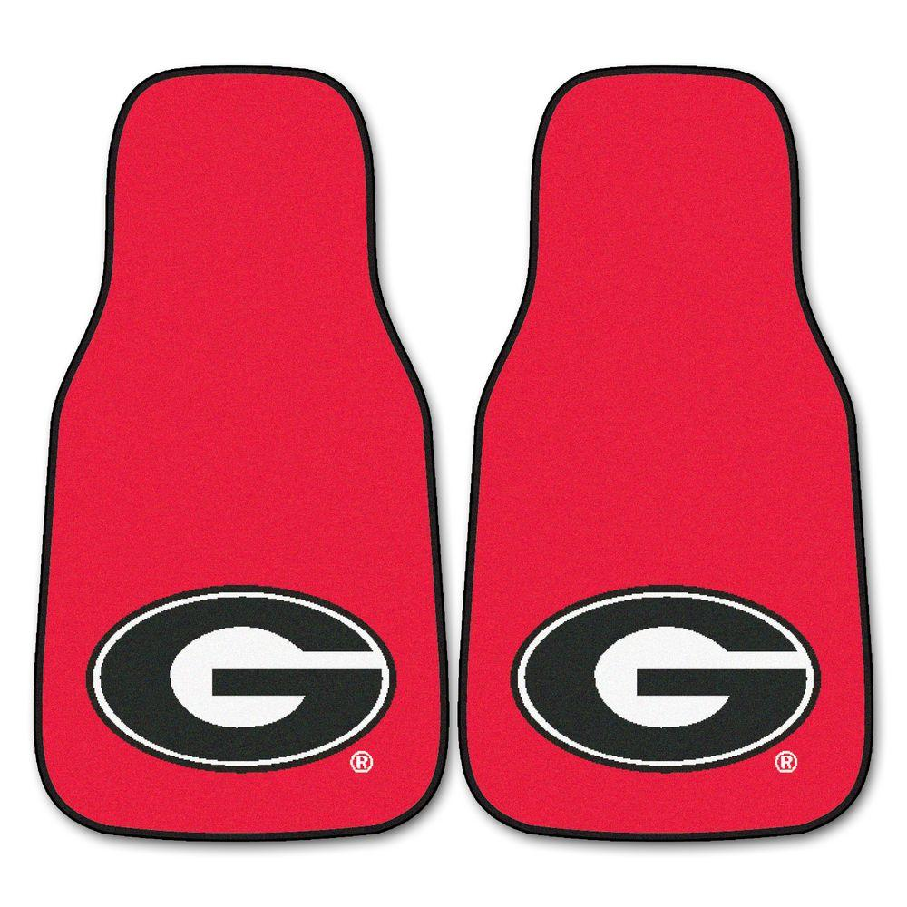 FANMATS University of Georgia 18 in. x 27 in. 2-Piece Carpeted Car Mat Set