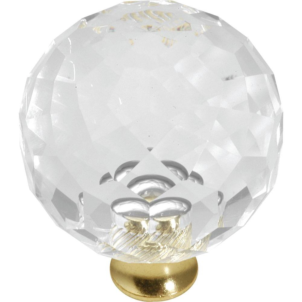 Crystal Palace 1-9/16 in. Crysacrylic Polished Brass Cabinet Knob
